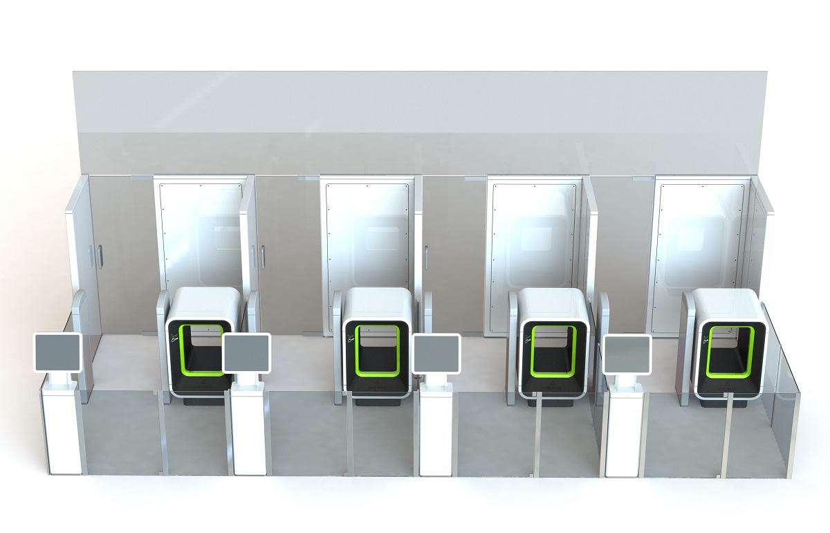 Checkpoint portal with miniature baggage scanner